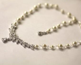 Bridal Necklace -Wedding Necklace, Cubic Zirconia, Back drop , Pearl necklace, Bridal Lariat, long drop necklace
