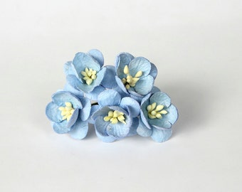 50 pcs - Blue Cherry blossom paper flowers - Wholesale pack