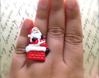 Santa Claus and Chimney Ring. Adjustable Brass Ring. Holiday Christmas Jewelry. Resin Jewelry. Festive. Red. Under 10 Gifts.