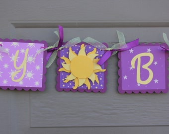 Tangled Happy Birthday Banner - Tangled Party  - Rapunzel Party - Rapunzel Birthday Banner - Rapunzel Birthday Party