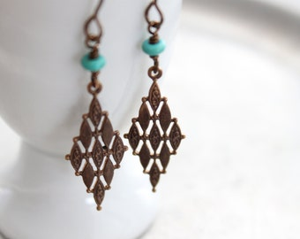Brass Mosaic Dangle Earrings - Vintaj Natrual Brass Earrings with Turquoise Bead, Diamond Shaped Dangle, Boho, Gift for Her Under 20