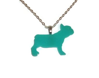 French Bulldog Necklace, Mint Green Dog Cute Perspex Kawaii Laser Cut Animal, Quirky