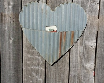 FREE SHIPPING Up-cycled old Corrugated Metal Heart with Pocket