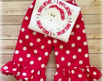 I Believe Santa Circle Shirt with Snowflakes and Coordinating Ruffle Pants Christmas Outfit