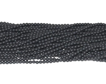"Black Onyx Matte Finish 4mm Round Gemstone Beads - 15.75"" Strand"