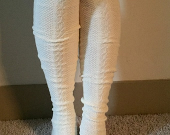 Cream Boot Socks with Brown Lace & Buttons - Over the Knee Knit Cotton Socks
