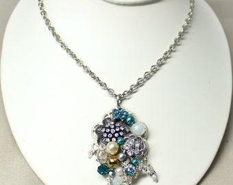 Teal Blue pendant necklace- FREE SHIPPING- Blue Rhinestone Pendant- Xmas Gift- Vintage jewelry necklace- Up cycled necklace-Blue Pendant