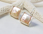 Pink Pearl Earrings . Flat Square Shape . Sterling
