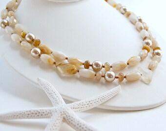 Two Strand Necklace . Beige Gemstones . Rutilated Quartz