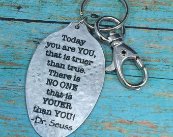Dr. Seuss Keychain Created from a Vintage Silver Plate Spoon, Gift for Teacher, Friend, Unique Gift, Recycled Art