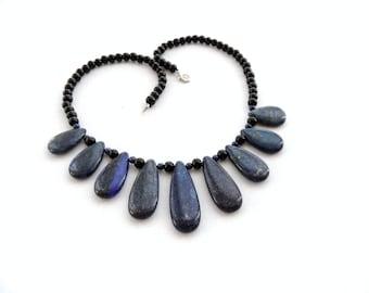 Gemstone Necklace - Lapis Lazuli and Agate Stone Necklace - Beaded Necklace - Blue Necklace - Healing Necklace -Birthstone Necklace
