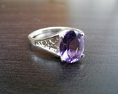 15% Off Sale.S265 Made to Order...New Sterling Silver Antique Filigree Style Ring With 3 Carat Oval Cut Natural Amethyst Gemstone