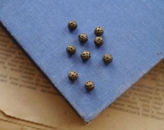 100 pcs Antique Bronze Ornate Filigree Spacer Beads 6mm (BB2410)