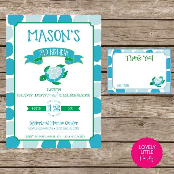 DIY Printable Turtle Birthday Invitation Kit Boy - Invite AND Thank You Card included