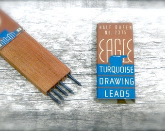 Vintage Eagle Pencil Turquoise Drawing Leads in Wood Holder and Original Art Deco Paper Box - Supplies 1930's