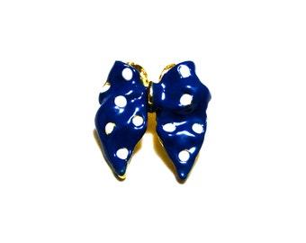 Vintage Brooch Women's Jewelry Polka Dot Bow / Dark Blue White Enamel / 1980's Gold Tone Jewelry Pin // Vintage Womens Accessories Jewelry