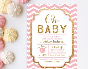 High Quality Baby Shower Invitation   Pink U0026 Gold Baby Shower Invitation   Gold Glitter  Invitation   Chevron