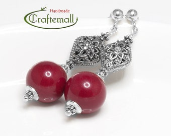 Clearance: Sterling silver earrings with Red Coral
