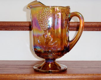 """INDIANA HARVEST PITCHER Large 64 Oz Amber Yellow Carnival Glass Colony Iridescent Crystal 9 3/4"""" Tall Grape #0175 Excellent Condition"""