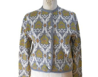 vintage 1960s damask cardigan sweater / Catalina Jacquard / wool / Mad Men / 60s patterned sweater / women's vintage sweater / size 40