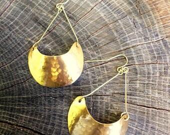 HERA: Crescent Earrings, prom earrings, bridal jewelry, gold earrings, goddess earrings, gold jewelry, moon earrings, fashion jewelry, gold