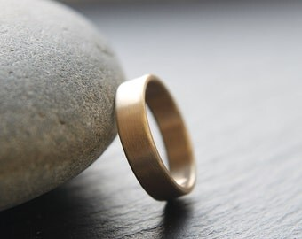 5mm wedding ring for him in 9ct yellow gold, flat profile, brushed finish, mens wedding ring - handmade to order from recycled materials