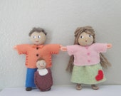 Poseable Bendy Doll Family, Dad Mom Baby, Dollhouse People, Waldorf, Pocket Doll