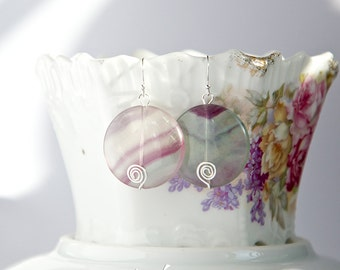 Sterling silver earrings with round fluorite gemstones, transparent pastel colored stones, green, purple with hand hammered sterling spirals