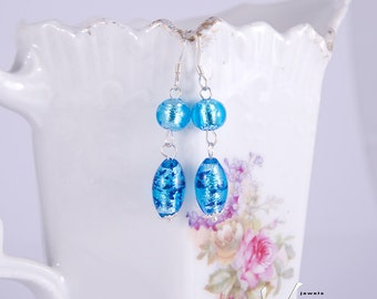 Earrings with bright blue Murano glass with silver foil, genuine Venetian Murano glass beads, sterling silver ear rings, Murano from Venice