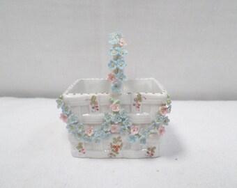 Porcelain Miniature Floral Basket circa 1900 v191
