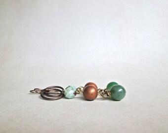 Brass Green Drop Earrings by Nancelpancel on Etsy