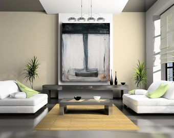Original Painting, Large Painting, Custom Painting, Art Painting, canvas, black abstract, contemporary wall art by Cheryl Wasilow