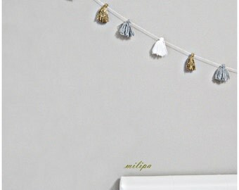 "Garland white gray gold tassel garland Home and Living kids room decor wall hanging banner nursery decoration garland tassel 100"" (250cm)"