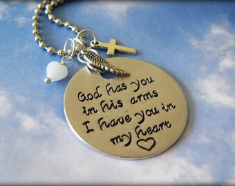 God Has You In His Arms, I Have You In My Heart Stamped Necklace-Bereavement-Loss-Angel-Mourning-Miscarriage-Pregnancy Loss