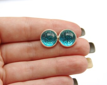 Mermaid Tail Glitter Earrings - Posts/Studs - Bubbles Collection You Pick Size L, M, S (B12)