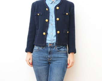 Vintage navy blue cropped women jacket with golden buttons / small