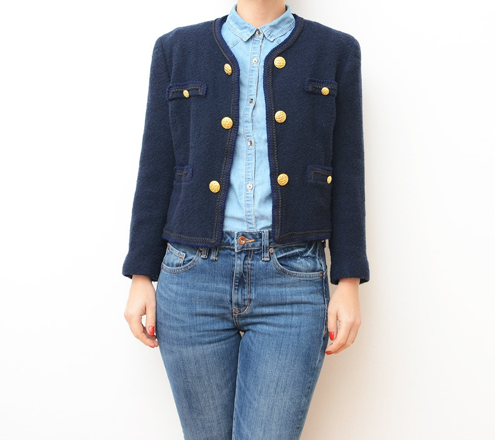 Vintage navy blue cropped women jacket with golden buttons  Cropped