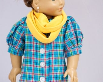 "Doll Clothes Girl American 18"" Plaid Dress, Mustard Yellow Infinity Scarf, and Faux Leather Purse - Christmas Gift - 18 Doll"