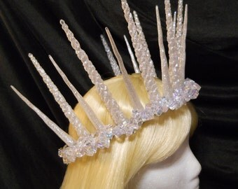 Icicle Snow Crown Queen Winter Ice King Icicle Headpiece Frozen Snow Fairy Burning Man Christmas Party Holiday Headdress Costume New Years