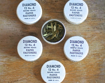 Vintage Office Supplies Diamond 12 No 4 Paper Fasteners Five Containers