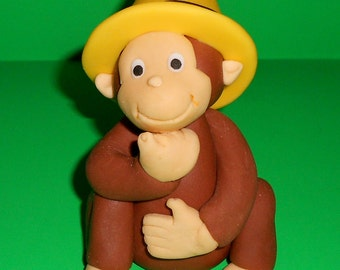 Curious George & Hat Edible Fondant Cake Topper