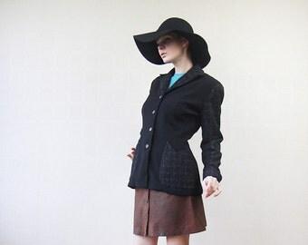 Black wool ZELDA button down darted waist blazer