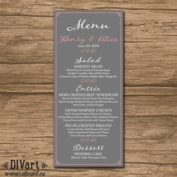 Elegant Wedding Menu Rehearsal Dinner Menu Reception By DIVart