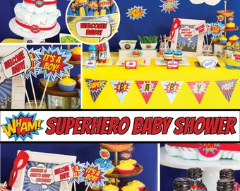 Superhero Baby Shower Decorations Package pop art comic Aiden BC77 Printable