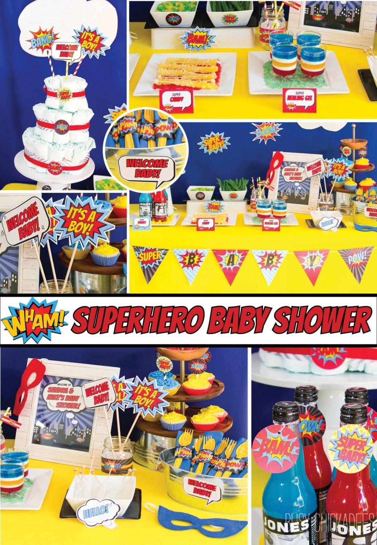 superhero baby shower decorations package pop art comic aiden