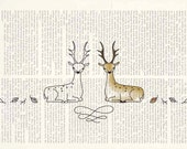 INSTANT DOWNLOAD - black white Digital Stamp - Coloring Page - Embroidery pattern - Autumn forest deers Stamps by NaiveNeedle