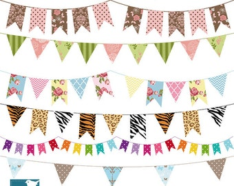 Bunting Flag Banner Digtal Clipart - Flag Banner Scrapbook , card design, invitations, web design - INSTANT DOWNLOAD