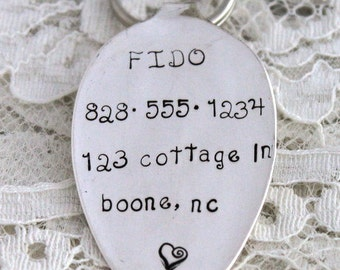 Silverware DOG or CAT ID Tag Silverware Spoon Dog or Cat Tag Hand Stamped Flattened Spoon