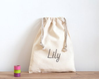 6 + party bags - with personalised text in black on cotton drawstring bag, favor bags, hens party, bachelorette party, bridesmaid gift