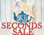 SECONDS SALE Make Tea Not War Blue Teapot Tote Bag